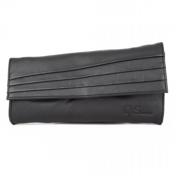 Abendtasche Clutch Schultertasche Leder schwarz